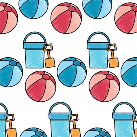 bucket shovel ball beach pattern image vector illustration design sketch style Illustration