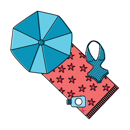 parasol towel swimsuit sunscreen beach icon image vector illustration design