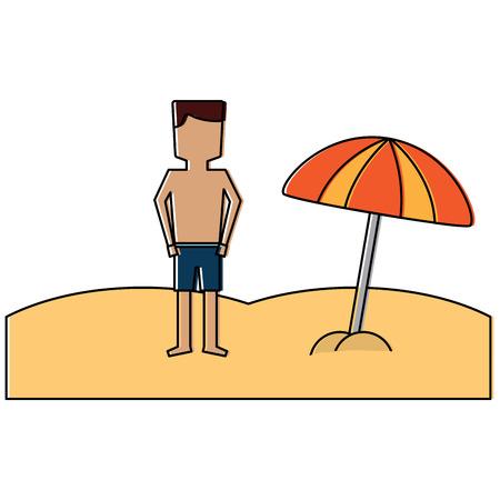 Man in the beach icon image vector illustration design