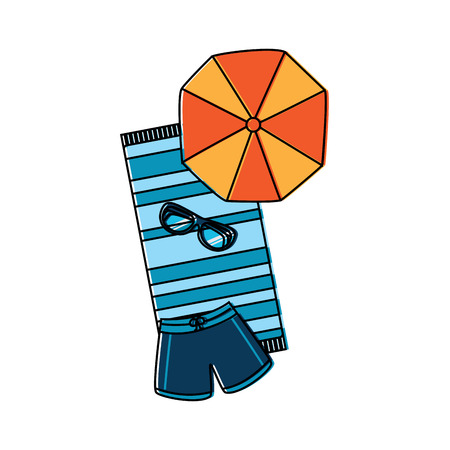 Handdoek parasol boomstammen glazen strand pictogram afbeelding vector illustratie ontwerp