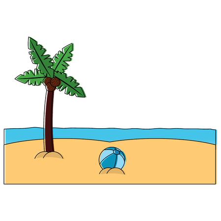 Palm tree ball sea sand beach landscape icon image vector illustration design Illustration