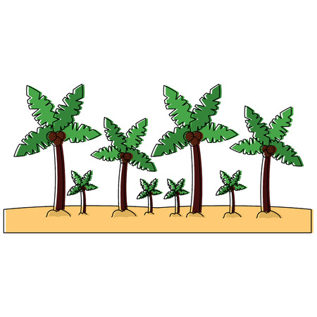 Palm trees sand beach landscape icon image vector illustration design