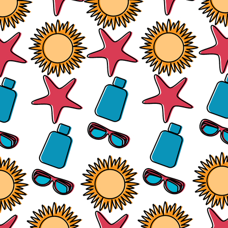 Sun starfish sunscreen glasses beach pattern image vector illustration design