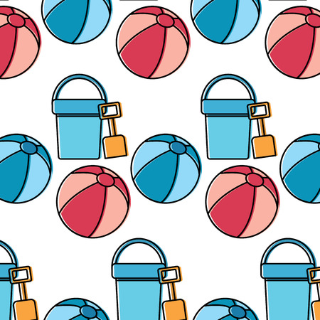 Bucket shovel ball beach pattern image vector illustration design