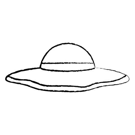 sun hat woman icon image vector illustration design  black sketch line
