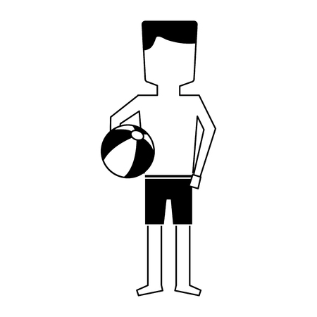 Man in trunks bathing suit icon image vector illustration design black and white Illustration