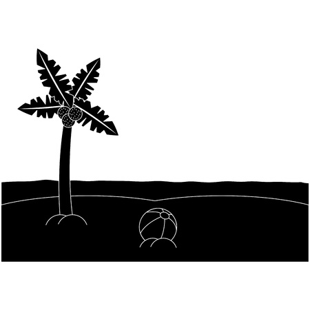 Palm tree ball sea sand beach landscape icon image vector illustration design black and white Illusztráció