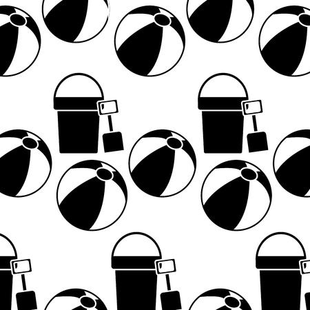 Bucket shovel ball beach pattern image vector illustration design black and white