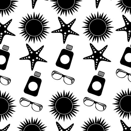 Zon zeester zonnebrandcrème glazen strand patroon afbeelding vector illustratie zwart-wit