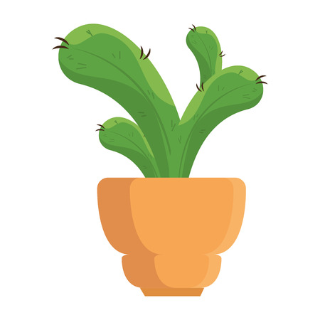 A beautiful cactus houseplant in pot vector illustration design