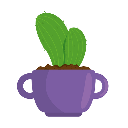A beautiful cactus houseplant in pot vector illustration design