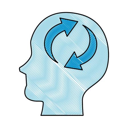 A head profile with arrows reload vector illustration design