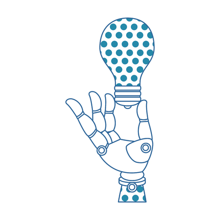 A robot hand humanoid with bulb vector illustration design Illustration