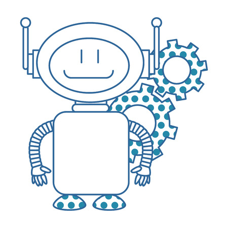 A technological robot with gears character icon vector illustration design