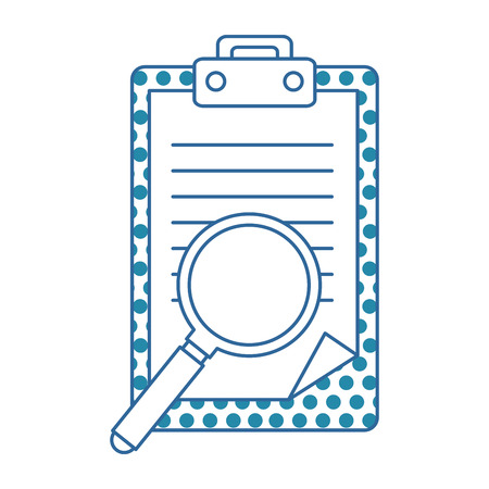 A checklist document with magnifying glass vector illustration design