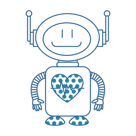 A technological robot with heart cardio character icon vector illustration design