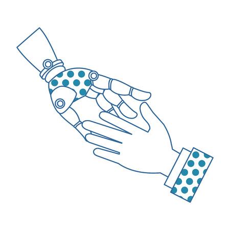 A human hand and robot vector illustration design
