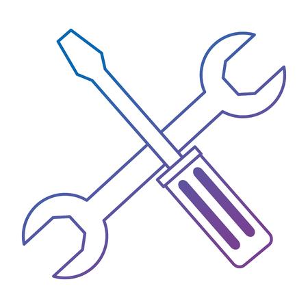 wrench key and screwdriver vector illustration design Illustration