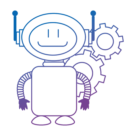 technological robot with gears character icon vector illustration design Иллюстрация