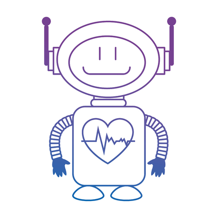 technological robot with heart cardio character icon vector illustration design