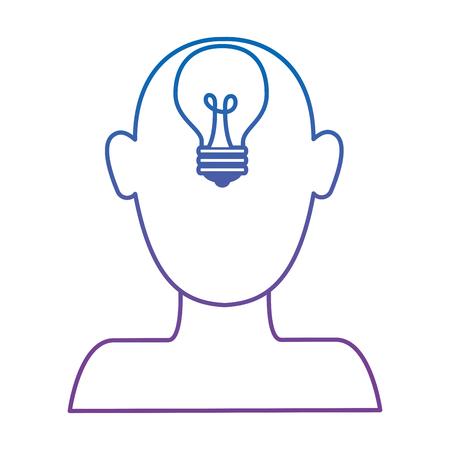profile with bulb light idea vector illustration design