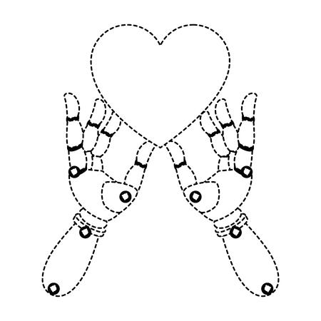 robot hands with heart vector illustration design Illustration