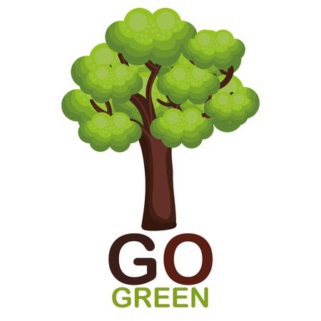 Go green tree plant vector illustration design