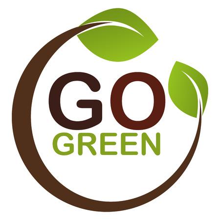 go green leaves plant vector illustration design