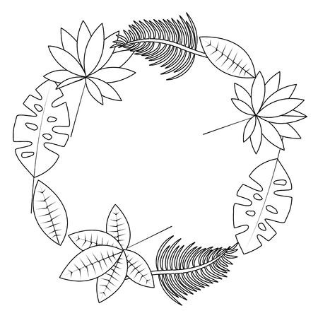 Tropical leaves wreath icon image vector illustration design single black line