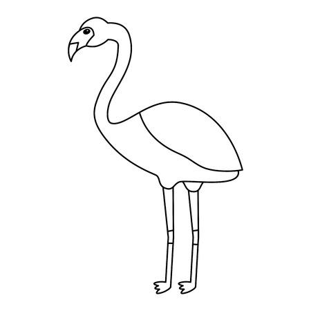 フラミンゴ鳥熱帯アイコン画像ベクトルイラストデザインシングルブラックライン