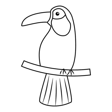 Einzelne schwarze Linie des tropischen Ikonenbildvektor-Illustrationsdesigns des Tukanvogels Standard-Bild - 96630207
