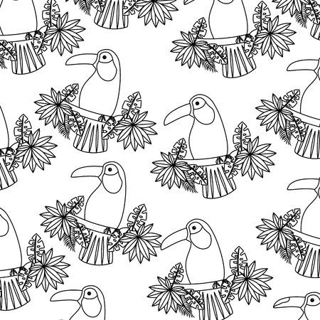 지점과 나뭇잎 새 열 대 패턴 이미지 벡터 일러스트 레이 션 디자인 단일 검은 선에 큰 부리 새