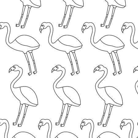 フラミンゴ鳥熱帯パターン画像ベクトルイラストデザインシングルブラックライン  イラスト・ベクター素材