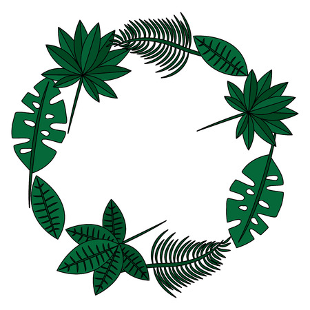 tropical leaves wreath icon image vector illustration design