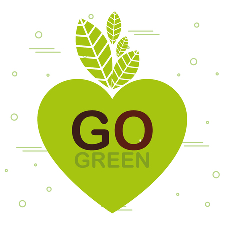 go green label with heart vector illustration design