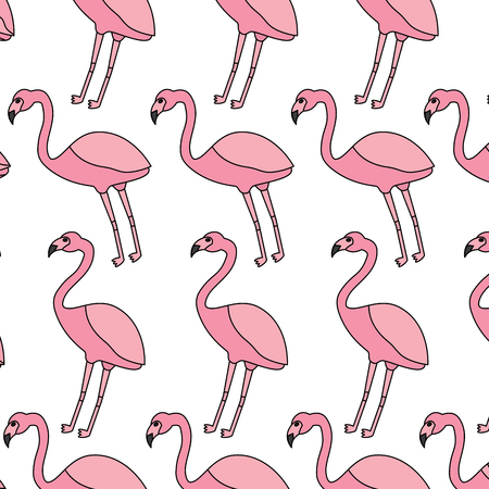 フラミンゴ鳥熱帯パターン画像ベクトルイラストデザイン  イラスト・ベクター素材