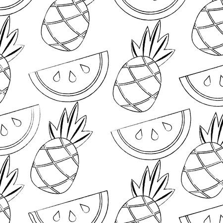 watermelon pineapple fruit pattern image vector illustration design black sketch line
