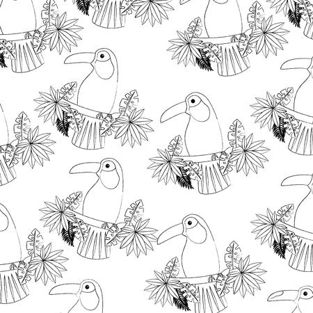 가지와 나뭇잎 새 열 대 패턴 이미지 벡터 일러스트 레이 션 디자인 검은 스케치 선에 큰 부리 새