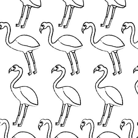 フラミンゴ鳥熱帯パターン画像ベクトルイラストデザイン黒スケッチライン