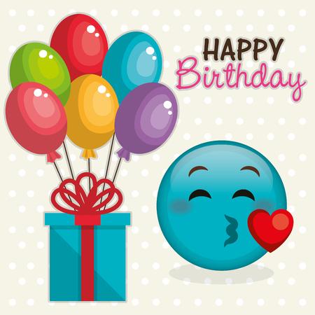 Happy birthday card with emoticon vector illustration design Illustration