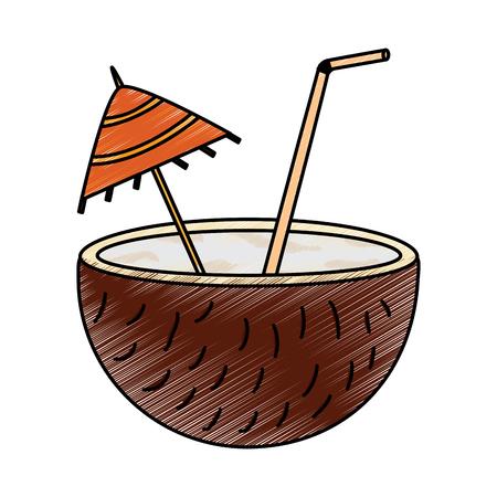 Coconut half umbrella straw fruit icon image vector illustration design