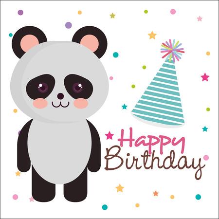 A Happy Birthday Card With Bear Panda Vector Illustration Design