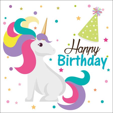 happy birthday card with unicorn character vector illustration design Çizim
