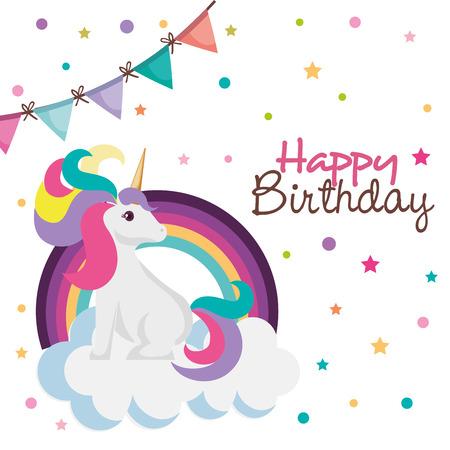 happy birthday card with unicorn character vector illustration design Stock Illustratie