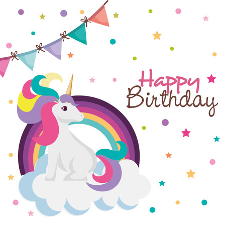 happy birthday card with unicorn character vector illustration design Illustration
