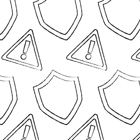 shield protection and warning alert sign digital symbol pattern vector illustration