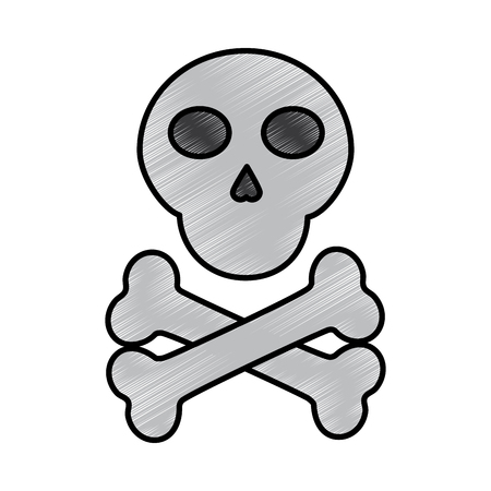 skull cross bones danger alert image vector illustration drawing design