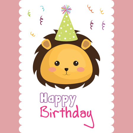 happy birthday card with cute leon character vector illustration design