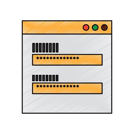 screen access login password security vector illustration drawing design