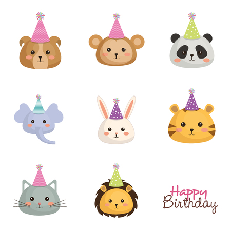 happy birthday card with set cute animals vector illustration design Ilustração